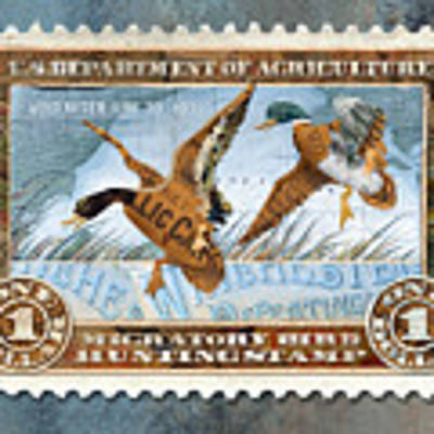 1934 Hunting Stamp Collage Art Print by Clint Hansen