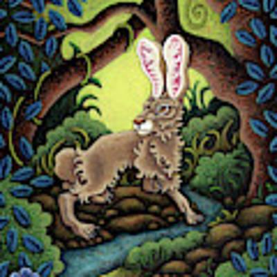 Blue Hare Lagoon Art Print by Amy E Fraser