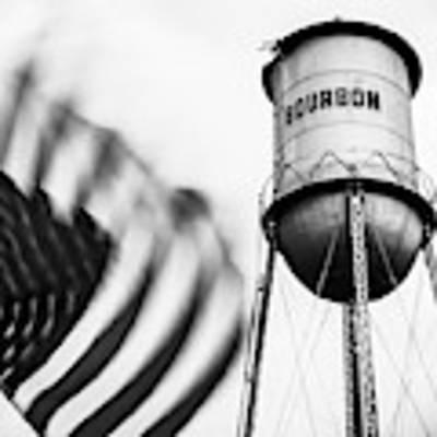 Bourbon Water Tower Usa Vintage - 1x1 Monochrome Art Print by Gregory Ballos