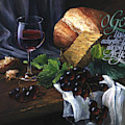Bread And Wine Art Print by Clint Hansen