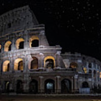Coliseum At Night Art Print by Jaroslaw Blaminsky