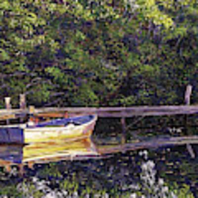 Early Morning Lake Reflections Art Print by David Lloyd Glover