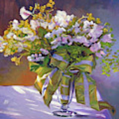 Flowers And Ribbons Still Life Art Print by David Lloyd Glover