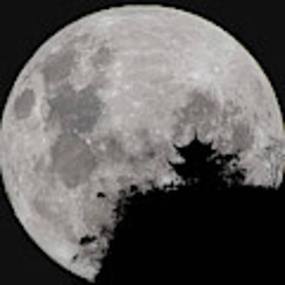 Full Moon Behind Clifftop Gazebo In Chengdu China Art Print by William Dickman