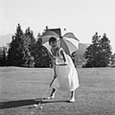 Golfing Hepburn Art Print by Hulton Archive
