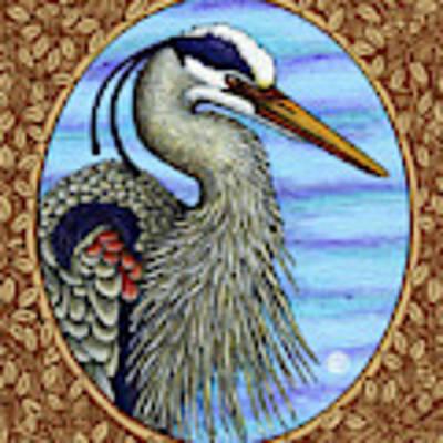 Great Blue Heron Portrait - Brown Border Art Print by Amy E Fraser