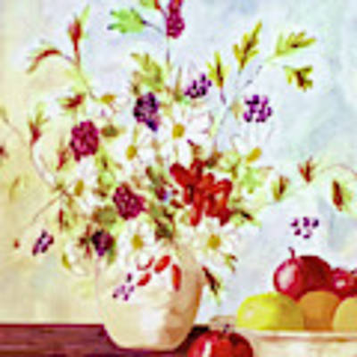 Harvest Time-still Life Painting By V.kelly Art Print by Valerie Anne Kelly