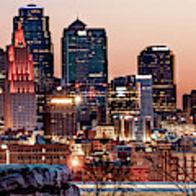 Kansas City Skyline At Red Dawn Art Print by Gregory Ballos