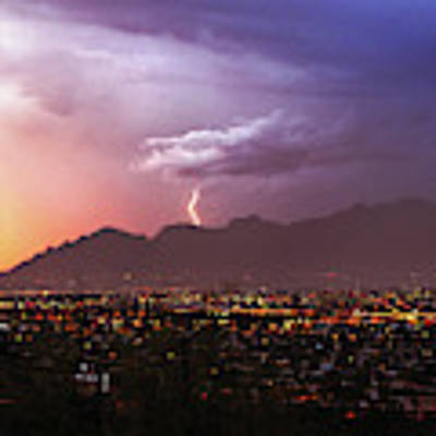 Lightning Bolt Over The Santa Catalina Mountains And Tucson, Arizona Art Print by Chance Kafka