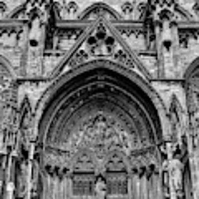 Lincoln Cathedral Side Entrance Monochrome Art Print by Scott Lyons