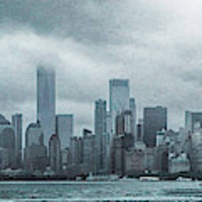 Lower Manhattan Panorama Art Print by Judy Hall-Folde