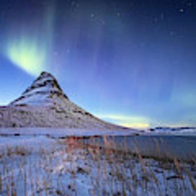Northern Lights Atop Kirkjufell Iceland Art Print by Nathan Bush