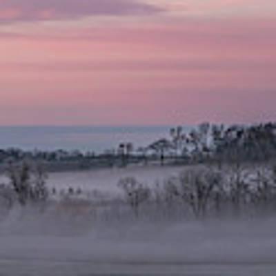 Pink Misty Morning #3 - Misty Field Art Print by Patti Deters