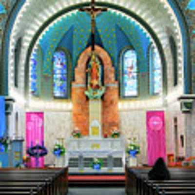 Praying At The Immaculate Heart Of Mary Church - San Antonio - Painted Church Art Print by Jason Politte