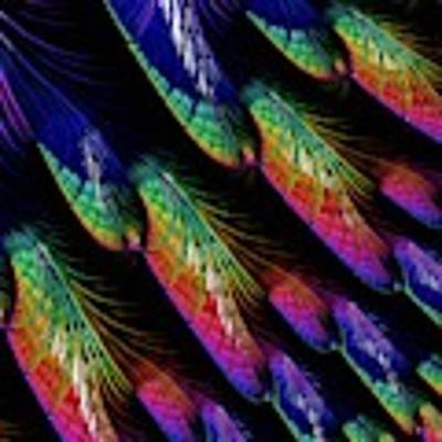 Rainbow Colored Peacock Tail Feathers Fractal Abstract Art Print by Rose Santuci-Sofranko