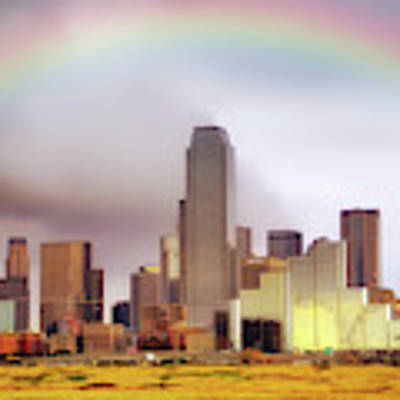 Rainbow Over Downtown Dallas - Dallas Skyline - Texas Art Print by Jason Politte