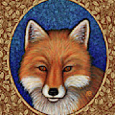 Red Fox Portrait - Brown Border Art Print by Amy E Fraser
