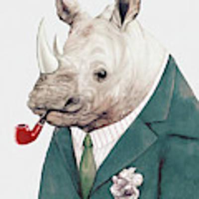 Rhino In Teal Art Print by Animal Crew