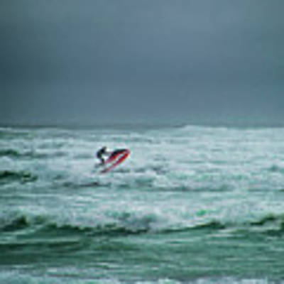 Shooting The Surf Art Print by Judy Hall-Folde