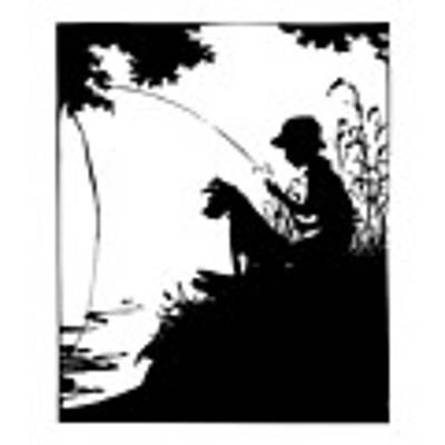 Silhouette Of A Boy Fishing With His Dog Art Print by Rose Santuci-Sofranko