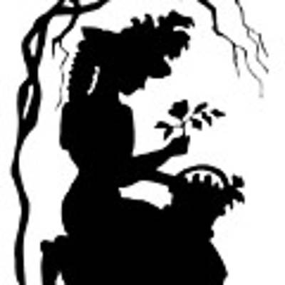 Silhouette Woman Picking Roses Art Print by Rose Santuci-Sofranko