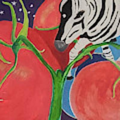 Space Zebra Art Print by Teresa Epps