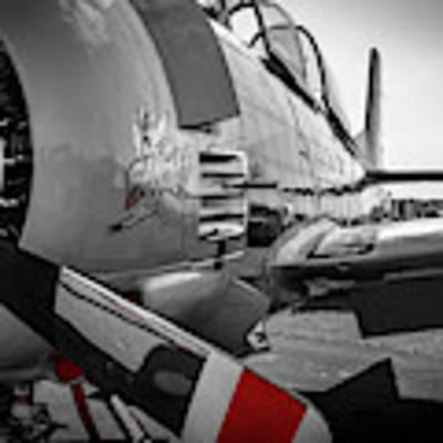 T-28b Trojan In Selective Color Art Print by Doug Camara