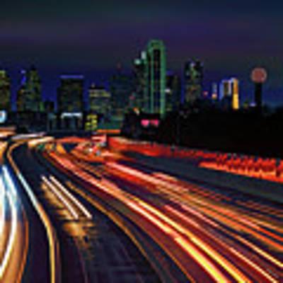 The Road To Dallas - Dallas Skyline - Tom Landry Freeway Art Print by Jason Politte