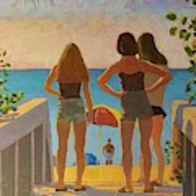 Three Beach Girls Art Print by David Gilmore