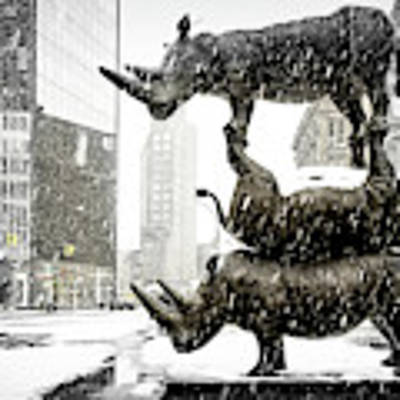 Three Rhinoceri In New York  Art Print by Chris Lord