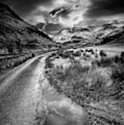 Valley Sunset Snowdonia Bw Art Print by Adrian Evans