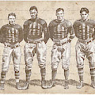 Vintage Football Heroes Art Print by Clint Hansen