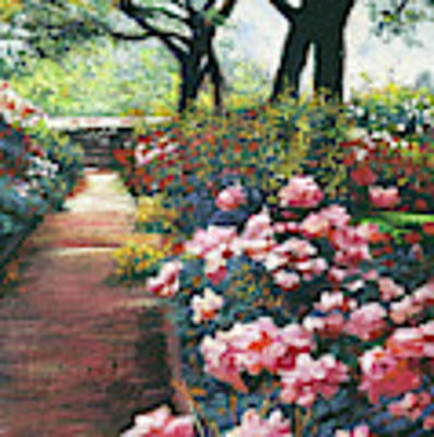 Walking By The Roses Art Print by David Lloyd Glover