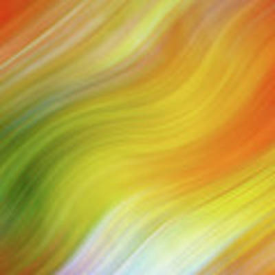 Wavy Colorful Abstract #4 - Yellow Green Orange Art Print by Patti Deters