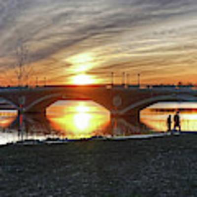 Weeks Bridge At Sunset Art Print by Wayne Marshall Chase