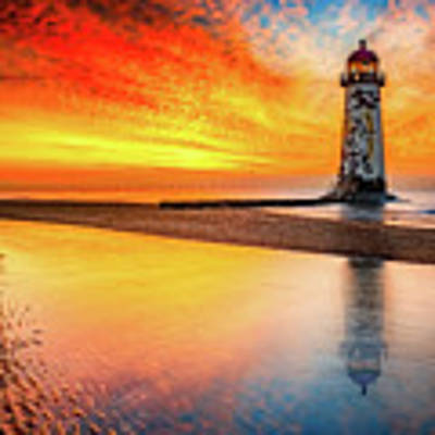 Welsh Lighthouse Sunset Art Print by Adrian Evans