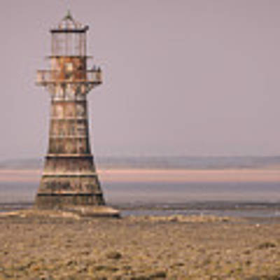 Whiteford Point Lighthouse In Pink Art Print by Elliott Coleman