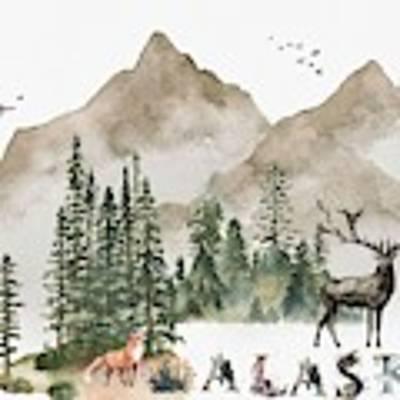 Wild Alaska Travel Poster Art Print by Celestial Images
