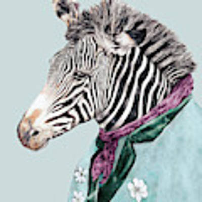 Zebra Blue Art Print by Animal Crew