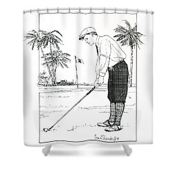 Shower Curtain featuring the drawing  1920's Vintage Golfer by Ira Shander