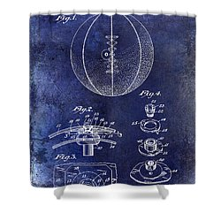 1927 Basketball Patent Drawing Blue Shower Curtain