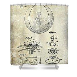 1927 Basketball Patent Drawing Shower Curtain by Jon Neidert