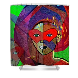394 - Challenging Woman With Mask Shower Curtain by Irmgard Schoendorf Welch