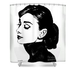 # 4 Audrey Hepburn Portrait. Shower Curtain