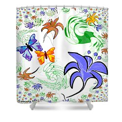 556 - Flowers And Butterflies Shower Curtain by Irmgard Schoendorf Welch