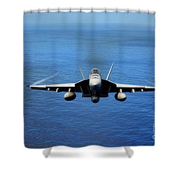 Shower Curtain featuring the photograph  A Fa-18 Hornet Demonstrates Air Power. by Paul Fearn