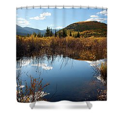 A Reflection Of Fall Shower Curtain by Jim Garrison
