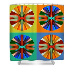 Abstract Circles And Squares 2 Shower Curtain by Amy Vangsgard