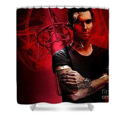 Shower Curtain featuring the mixed media  Adam Levine by Marvin Blaine