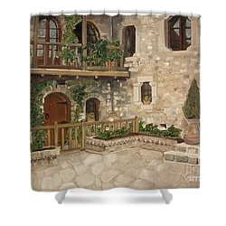 Greek Courtyard - Agiou Stefanou Monastery -balcony Shower Curtain